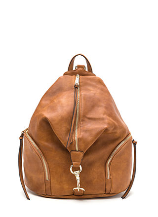 Daily Commute Faux Leather Clip Backpack