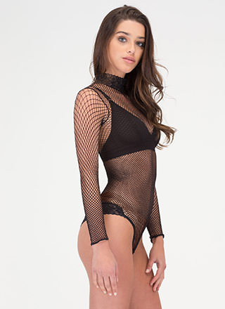 High Demand Sheer Net 'N Lace Bodysuit
