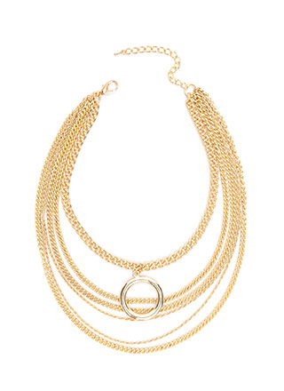 Ring Clear Draped Chain Necklace
