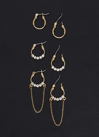 Jewel Together Sparkly Hoop Earring Set