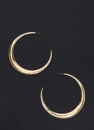 Moon River Jeweled Crescent Earrings