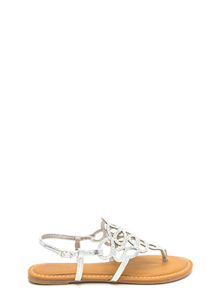 Gilded Love Cut-Out Metallic Sandals
