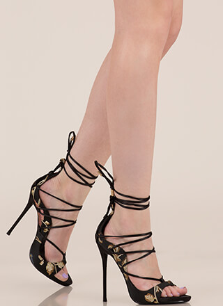 It Comes In Waves Floral Lace-Up Heels