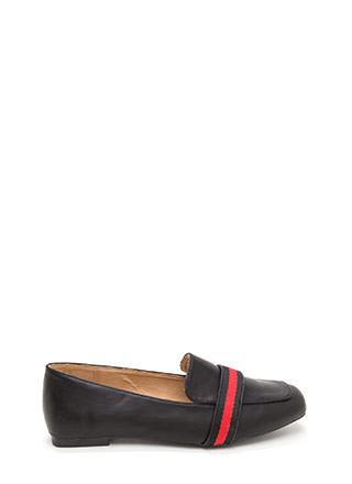 Prep School Striped Faux Leather Loafers
