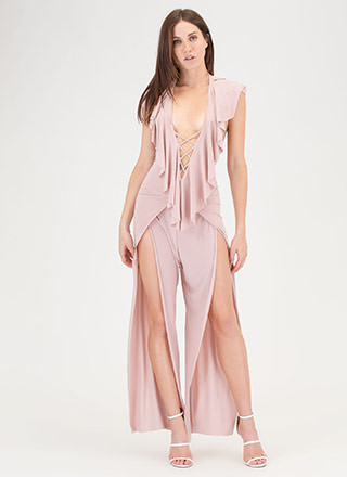 Ruffle You Up Split Leg Jumpsuit