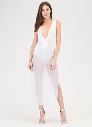 Laced It Double Slit Mesh Bodysuit Dress