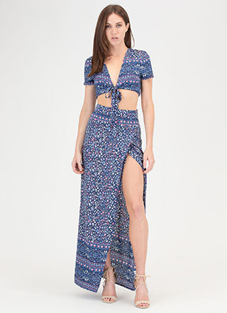 Fields Of Flowers Crop Top And Skirt Set