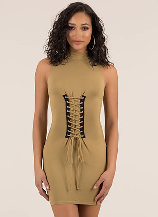 In Due Corset Lace-Up Mockneck Dress