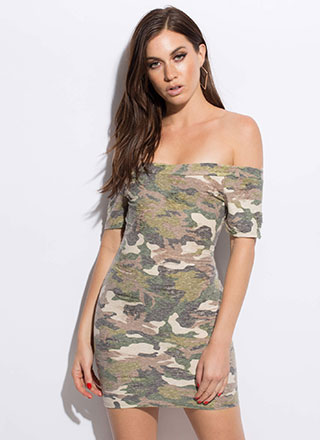 At Ease Faded Off-Shoulder Camo Dress