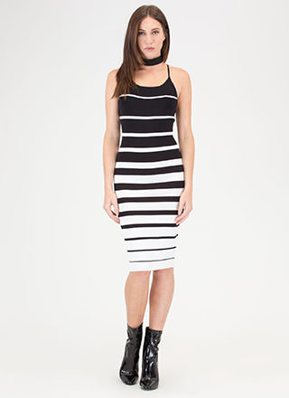 Memorizing Lines Striped Knit Dress