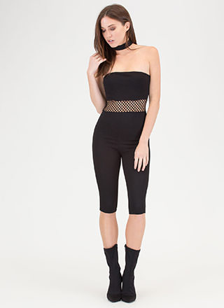 In The Middle Sheer Latticed Jumpsuit