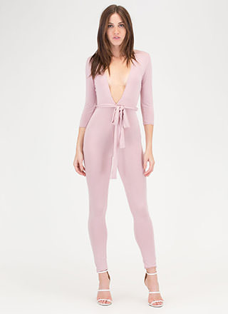 Chic Dreams Plunging Tied Jumpsuit