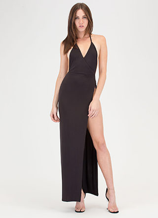 High Society Slit Halter Maxi Dress