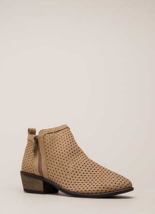 Everyday Chic Perforated Chunky Booties