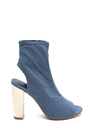 Sleek Preview Cut-Out Denim Booties