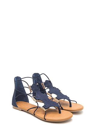Chic Moment Caged Denim Sandals
