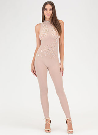 Front And Center Sheer Jeweled Jumpsuit