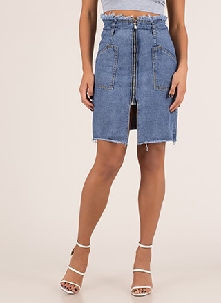 Jean Everything Zip-Up Paper-Bag Skirt