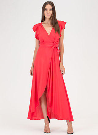 Flow For It Ruffled Wrap Maxi Dress