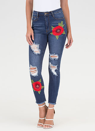 Botanical Chic Embroidered Skinny Jeans