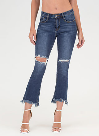 Fringed Flare Cropped Distressed Jeans