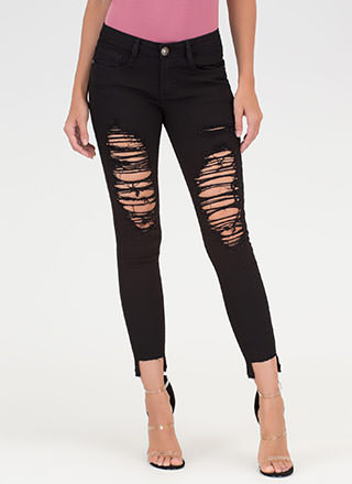 Step Above Distressed Skinny Jeans