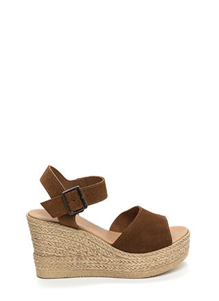 Sea Beyond Faux Suede Espadrille Wedges