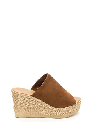 On Holiday Faux Suede Espadrille Wedges