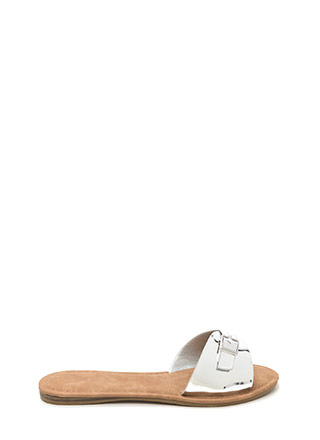 Buckle Down Metallic Slide Sandals
