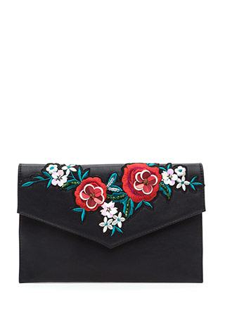 Flowers That Be Embroidered Clutch