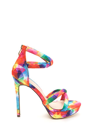 Double Cross Strappy Rainbow Heels