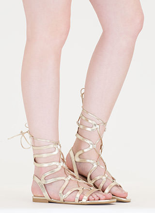 Waving Hello Metallic Gladiator Sandals