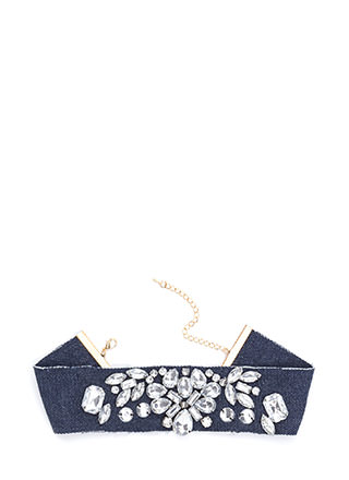 Gempire Faux Jewel Denim Choker