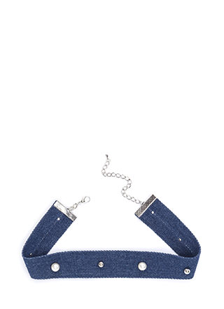 You Go Pearl Studded Denim Choker
