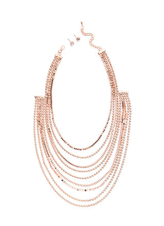 Team Layer Draped Chain Necklace Set
