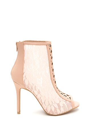 Lattice 'N Lace Chunky Peep-Toe Booties