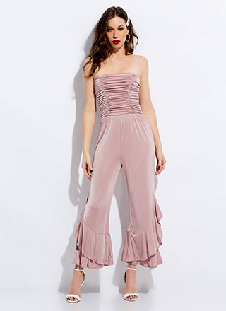 Flare Decision Ruched Strapless Jumpsuit