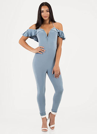 Chic Breeze Ruffled Off-Shoulder Jumpsuit
