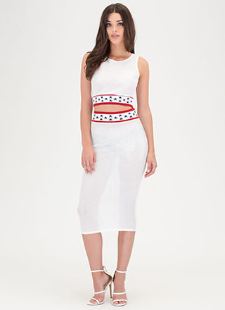 Starlet Style Perforated Two-Piece Dress