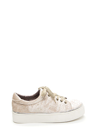 Oh High Crushed Velvet Platform Sneakers