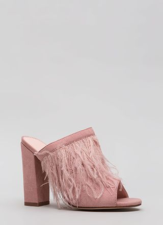 Feather Fringe Chunky Mule Heels
