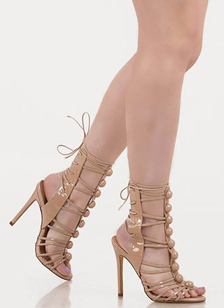 Dome Town Laddered Laced Back Heels