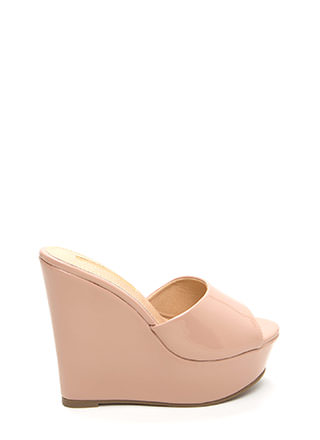 Easy Life Faux Patent Mule Wedges