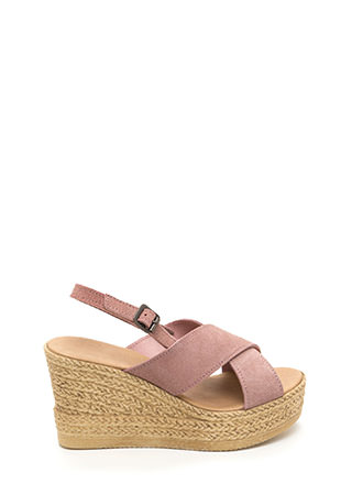 This Is My X Faux Espadrille Wedges