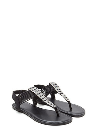 Stack Up Jeweled Satin Thong Sandals