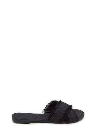 So X-Tra Frayed Denim Slide Sandals