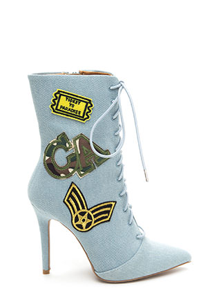 Command Center Denim Patch Booties