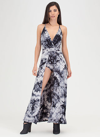 Island Life Plunging Tie-Dye Maxi