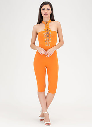 Play The Lace-Up Cropped Choker Jumpsuit