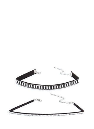 Nineties Glam Jeweled Choker Set